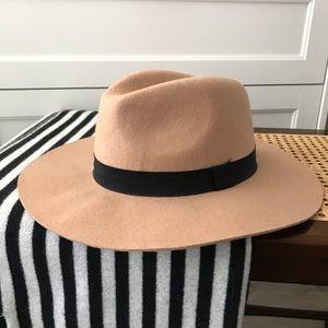 Cotton On Camel Wool Wide Brim Hat Fedora